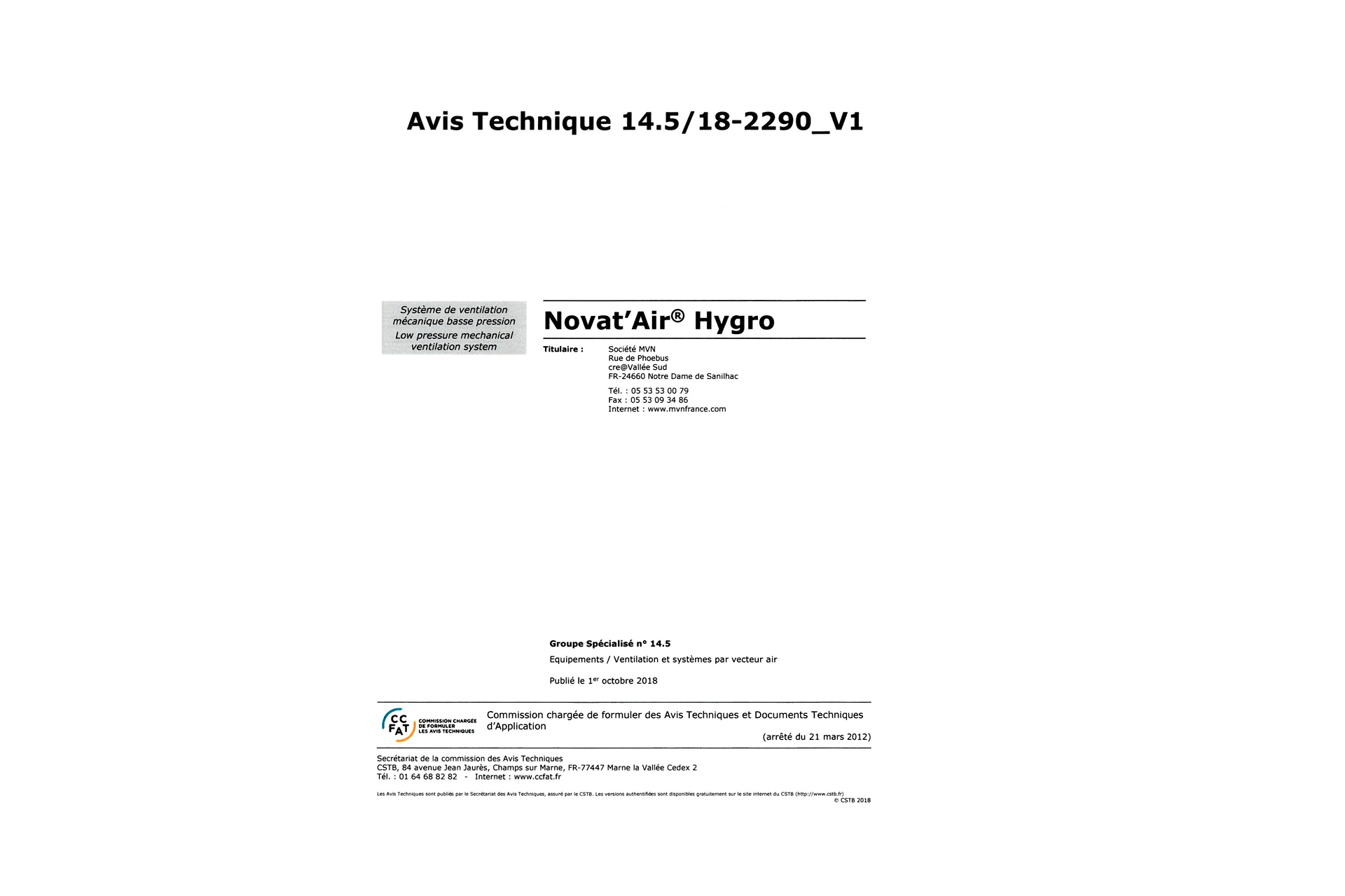 Avis technique 14.5/18-2290_V1 - Novat'Air Hygro