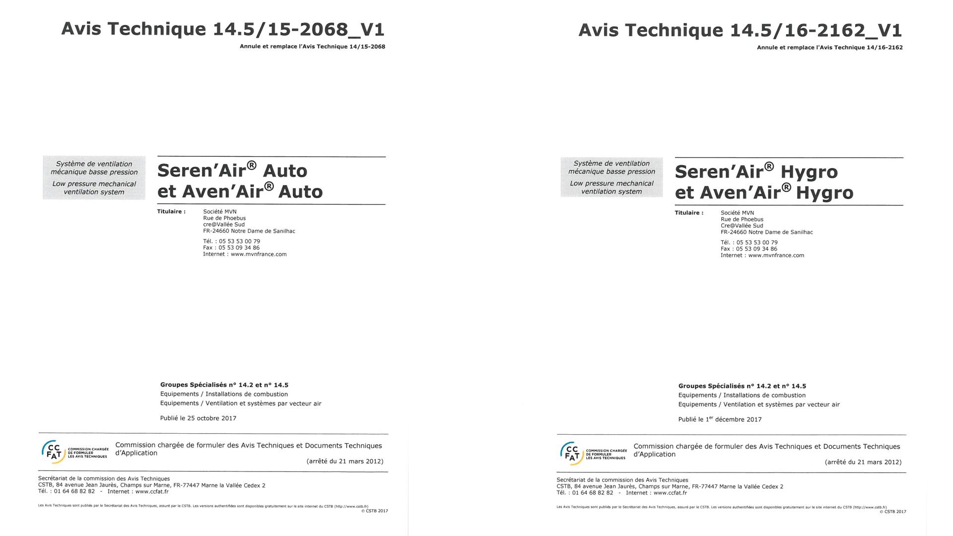 Avis technique auto 14.5/15-2068_V1 et Avis technique Hygro 14.5/16-2162_V1